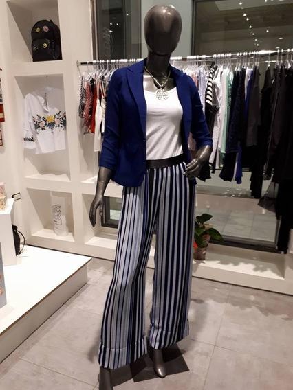 Pantalon Nucleo Palazzo Mujer Rayado Azul