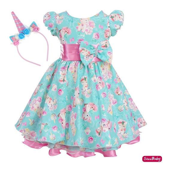 Vestido Unicórnio Mundo Encantado Festa Infantil Tiara Luxo