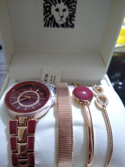 Reloj Anne Klein Set Pulseras Mujer Dorado/borgoña Nuevo Ori