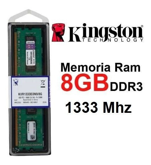 Memoria 8gb Ddr3 1333mhz Kingston Kvr1333d3n9/8g - Desktop
