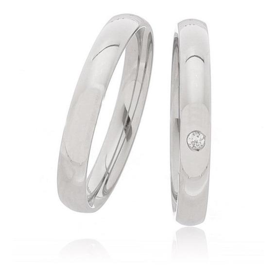 Aliança Compromisso Prata 950 Com Pedra Na Feminina 3mm