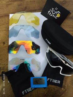 Óculos Ciclismo Ftiier Uv400 5 Lentes (ler Descrição)
