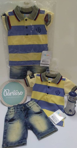 Conjunto Bebe Menino Paraiso Bermuda Jeans + Camisa Ref 7498