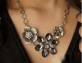 Colar Maxi Colar Prata Flor Tibetana Flores Cristais Vintage