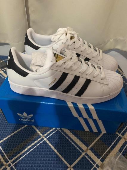 Tênis adidas Superstar Branco Com Azul Clássico