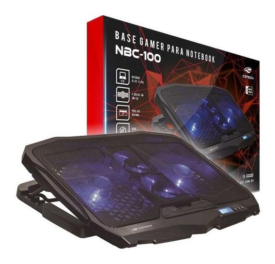 Base Notebook Gamer C3tech Nbc-100bk C/ 4 Cooler Led Azul