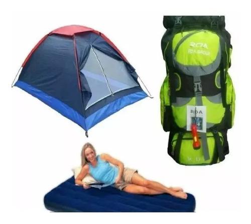 Combo Carpa Camping 4 Per + Colchon+ Bomba +morral Rda