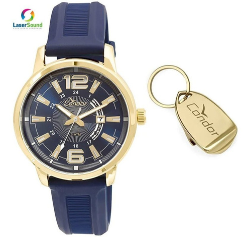 Relógio Condor Masculino Silicone + Chaveiro Original + Nf