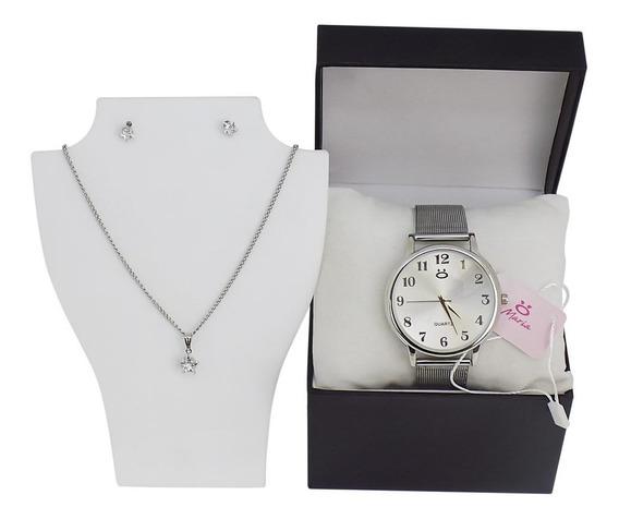 Relógio Feminino Prateado + Kit (colar E Brincos)
