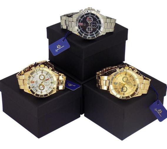 Kit 3 Relógios Masculino Orizom Analógico Dourado E Prata
