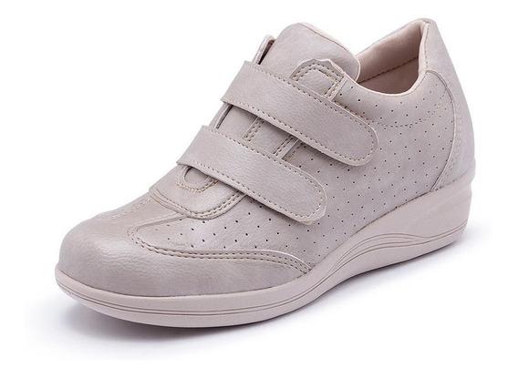 Tênis Feminino Conforte Ortopédico Ajustável Velcro Macio