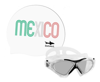 Set Gorra Natacion Mexico Blanc Y Goggle Omega Negro Escualo