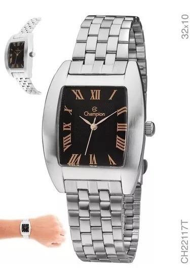 Relógio Champion Quadrado Prateado Original Com Garantia