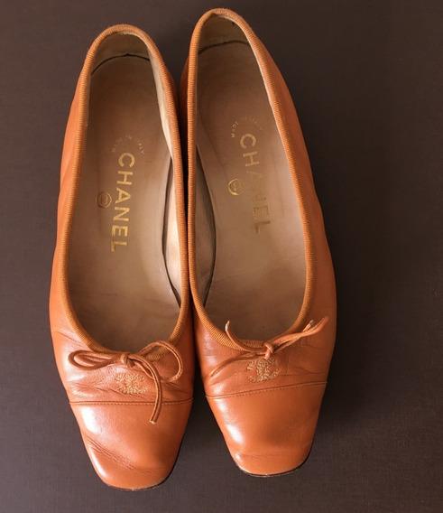 Sapatilha Chanel Couro Caramelo Bico Quadrado Original