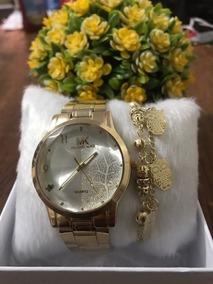 Relógio De Pulso Dourado Com Pulseira E Caixa