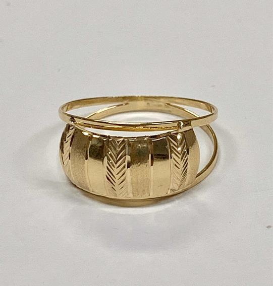 Anel Feminino Oferta Fosco E Diamantado Ouro 18k 750