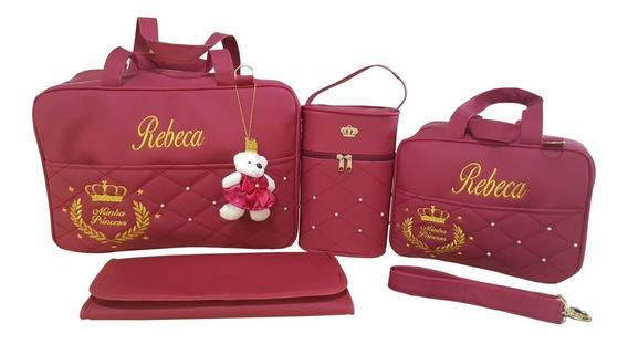Kit Bolsa Mala Bebe Saida Maternidade Vermelha Personalizada