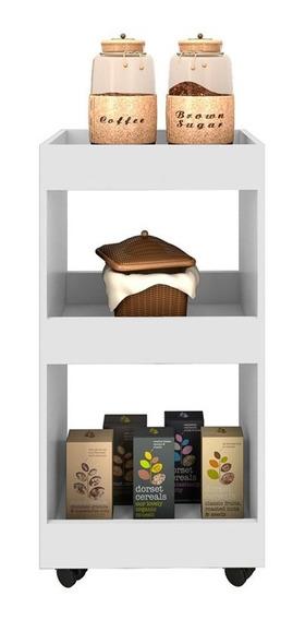 Armário Multiuso Para Cozinha Seul Com Rodízios Branco - Mpo