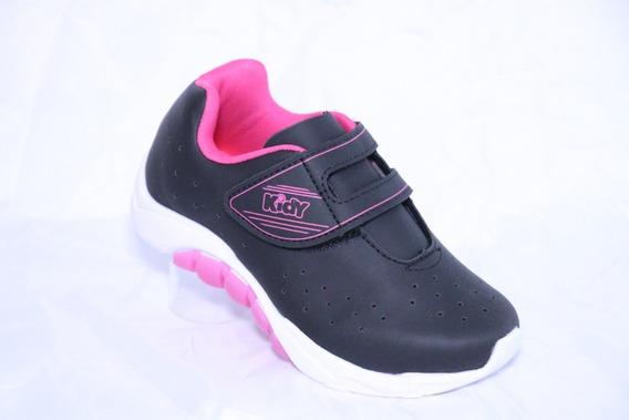 Tênis Infantil Menina Kidy Mais 168-1202 Preto Pink Original