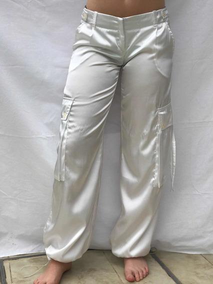 Pantalón Raso Blanco Tipo Cargo De Vestir Talle 40 Impactant