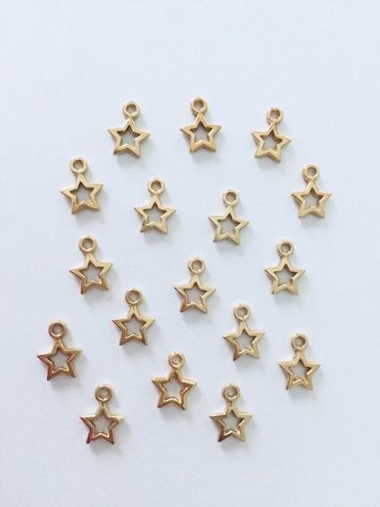 Dijes De Estrella En Baño De Oro De 18k
