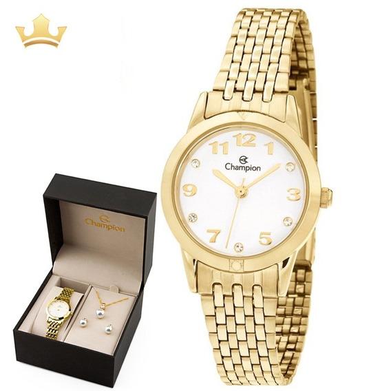 Relógio Champion Feminino Kit Ch24866w Com Nf