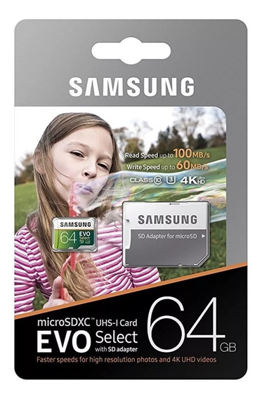 Original Samsung Microsd Card 64gb Evo Select U3 4k 100 Mb/s