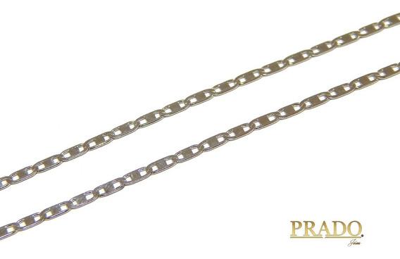 Corrente Em Ouro Branco 18k Piastrine 60cm