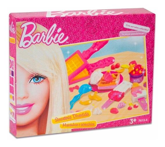 Barbie Massinha Sorveteria Divertida E Acessórios