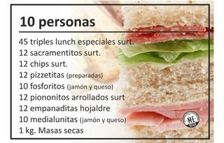 Servicio De Lunch Para 10 Personas