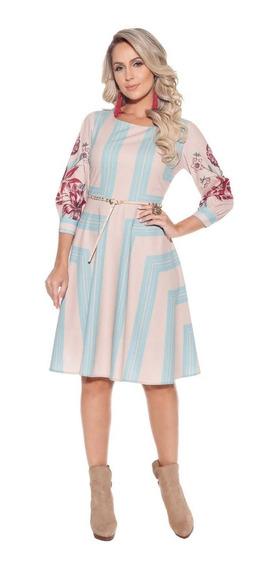 Vestido Curto Godê Fascínius Liliana Moda Evangélica Gospel