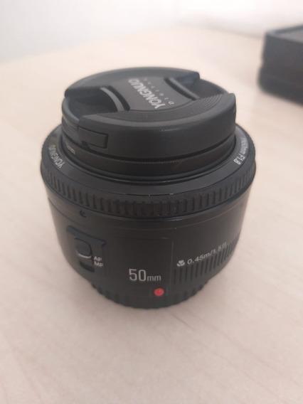 Lente Fixa Yongnuo 50mm F 1.8 C/ Protetor De Lente