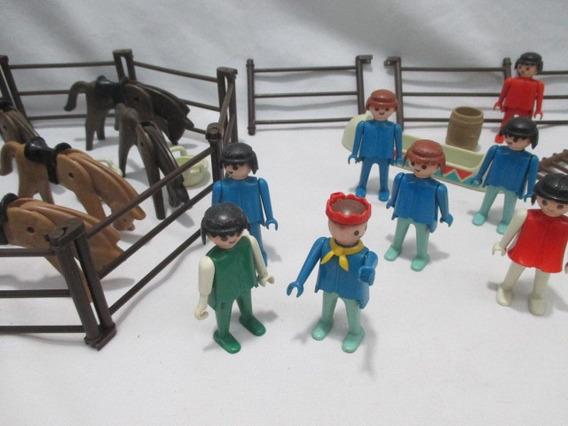 Antigo Playmobil Trol Anos 70 Lote 10 Bonecos 6 Cavalos Etc
