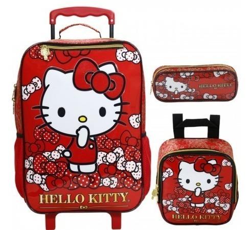 Kit Mochila Infantil Hello Kitty Lacinhos Rodinha G Vermelha