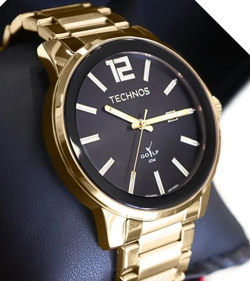 Relógio Masculino Technos Golf Dourado Redondo Ou Quadrado