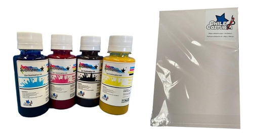 Pack Sublimacion Tinta 4 (bcym) + Resma A4 / Chilecostura