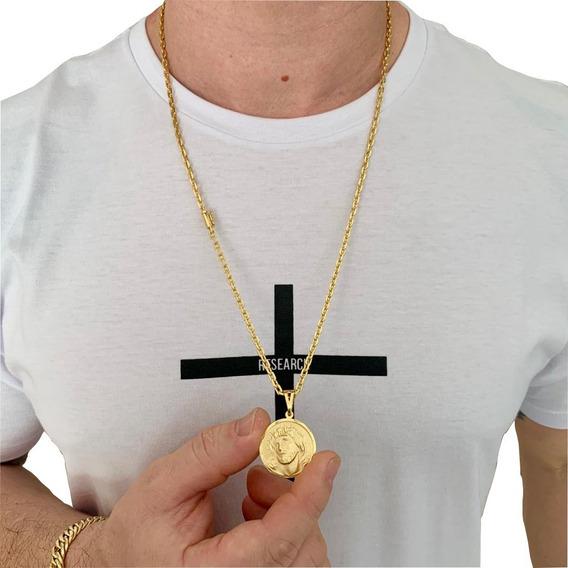 Corrente Banhada Ouro Cordão Masculino Banhado A Ouro 18k Cadeado Cartier 4mm + Pingente Medalha Face De Jesus