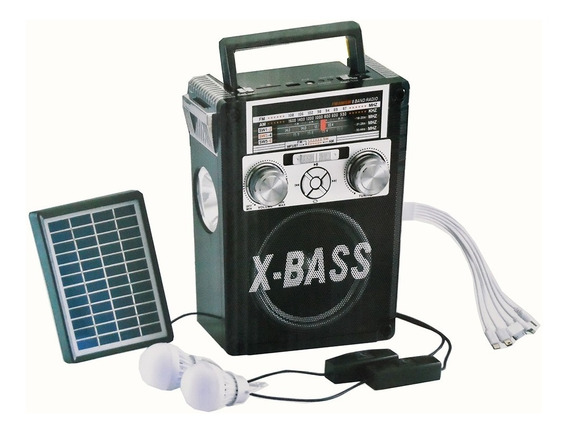 Kit Placa Solar Com Radio Caixa De Som Bluetooth Power Bank