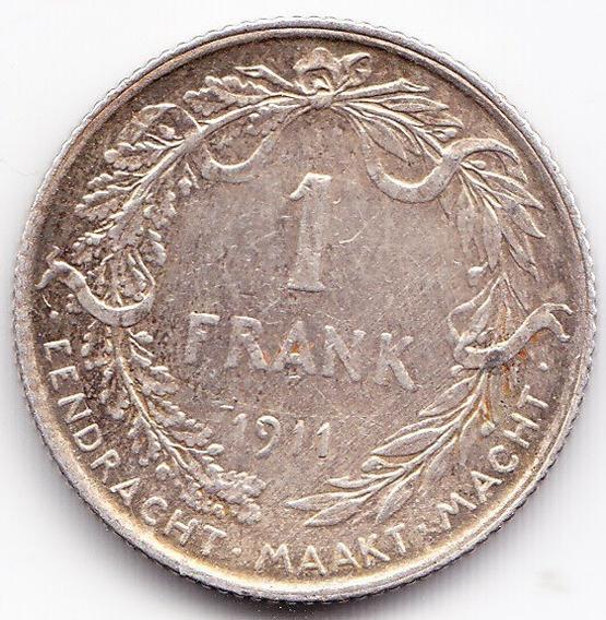 Belgica Moneda De 1 Franco 1911 De Plata Km 72 Au