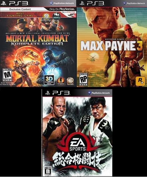 Max Payne 3 + Mortal Kombat 9 + Mma Ps3 Psn - Midia Digital
