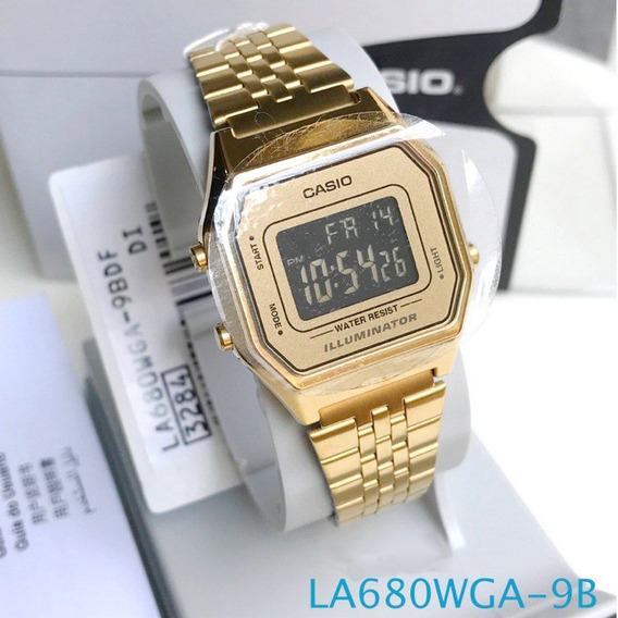 Relógio Feminino Casio Digital Dourado Vintage La680wga 9bdf