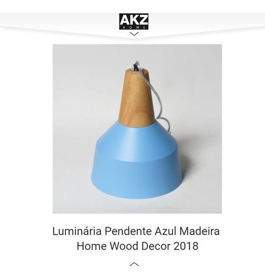Luminária Pendente Azul Madeira Home Wood Decor 2018