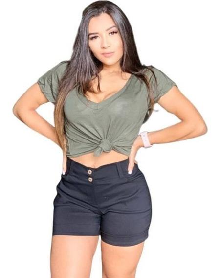 Shorts Feminino Bengaline Com Lycra 46 Ao 50 G1 G2 G3 Plus