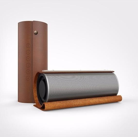 Caixa De Som Bluetooth Em Couro