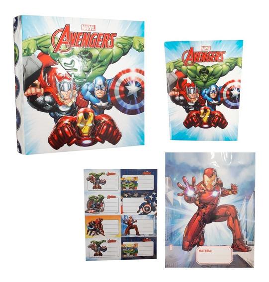 Combo Escolar 3 Piezas Super Heroes Carpeta Cuaderno Cuotas
