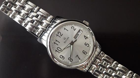 Relógio Bulova Mod. 96c19 Caixa E Pulseira Em Aço Novíssimo