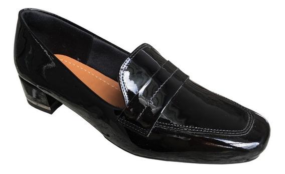 Sapato Slipper Usaflex Y5102 Couro Verniz
