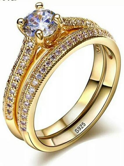 Anel De Noivado Unico Banhado A Ouro Com Pedras Brilhantes