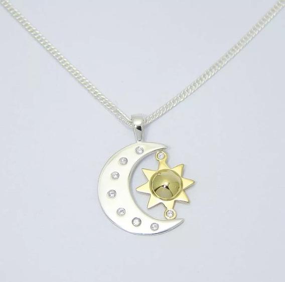 Pingente Lua E Sol Sou Luna Prata 950 Ouro 18k 750