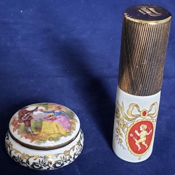 Pastillero Y Perfumero Con Pulverizador Porcelana Limoges Fr